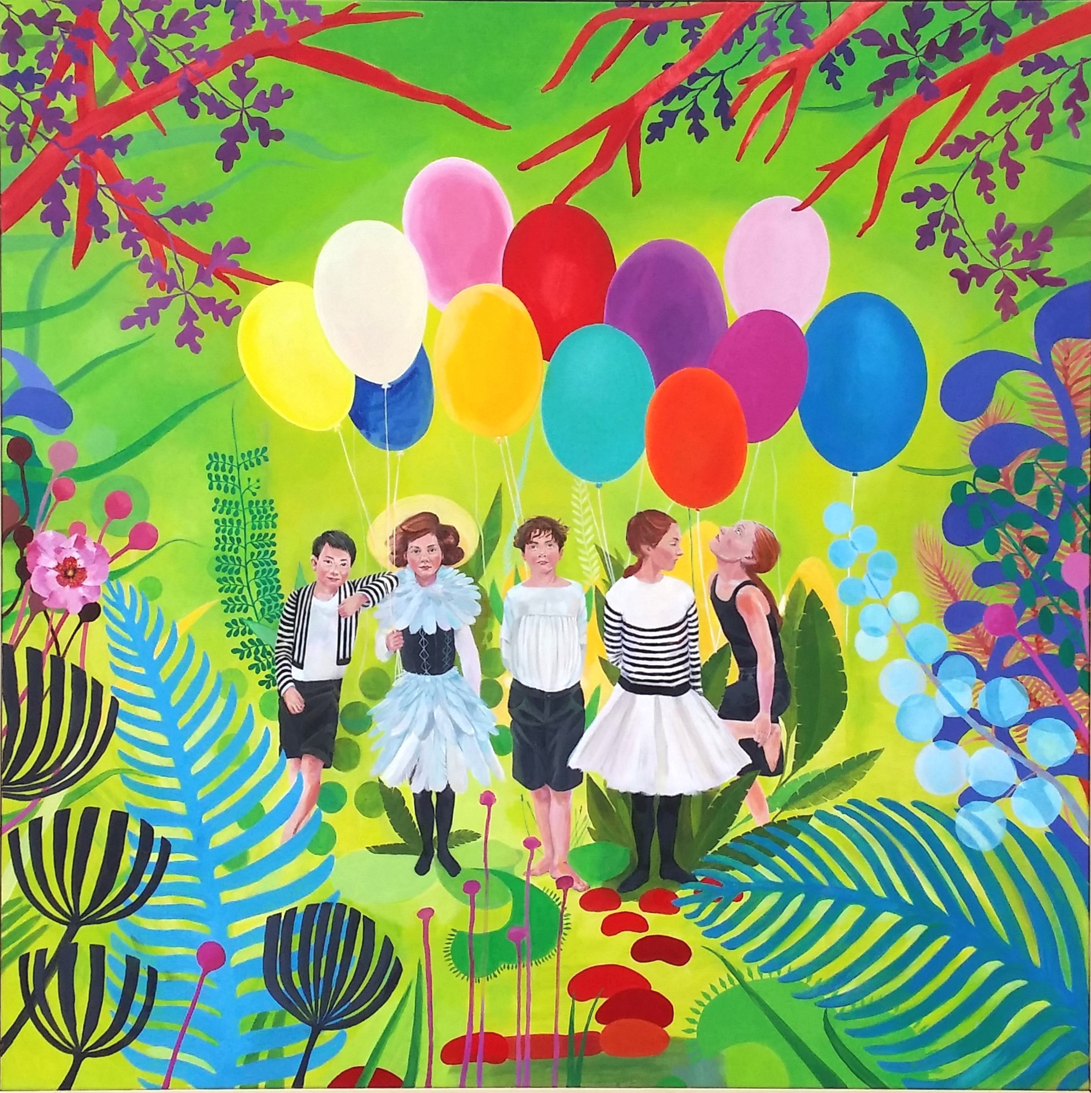 Kids in woods with balloons